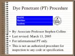dye penetrant pt procedure