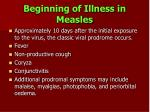 beginning of illness in measles