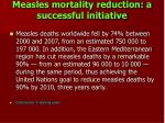 measles mortality reduction a successful initiative