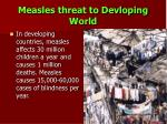 measles threat to devloping world