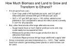 how much biomass and land to grow and transform to ethanol