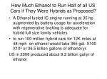 how much ethanol to run half of all us cars if they were hybrids as proposed