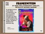frankenstein by mary wollstonecraft shelley retold by michael burgan