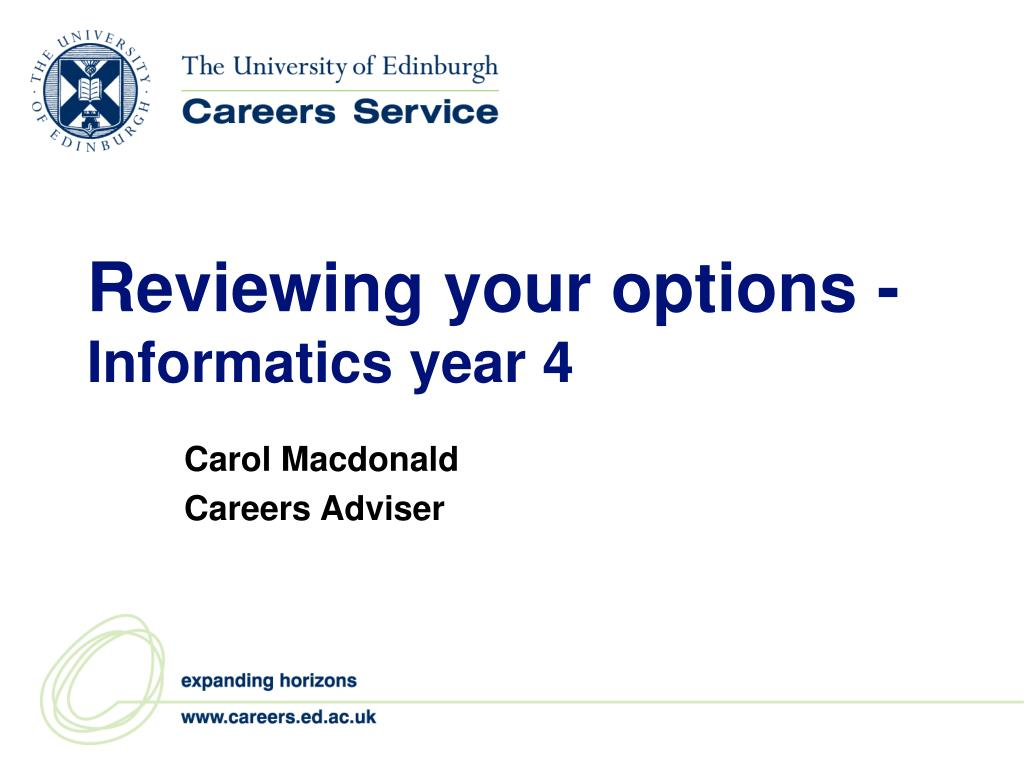 reviewing your options informatics year 4 l.