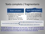 texto completo fragmentario