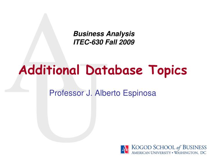 business analysis itec 630 fall 2009 n.