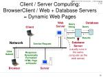 client server computing browserclient web database servers dynamic web pages