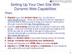 setting up your own site with dynamic web capabilities