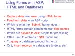 using forms with asp html and databases