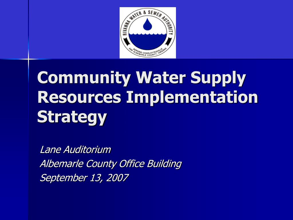 community water supply resources implementation strategy l.