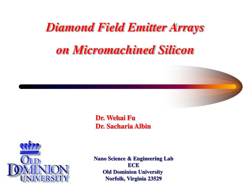 diamond field emitter arrays on micromachined silicon l.