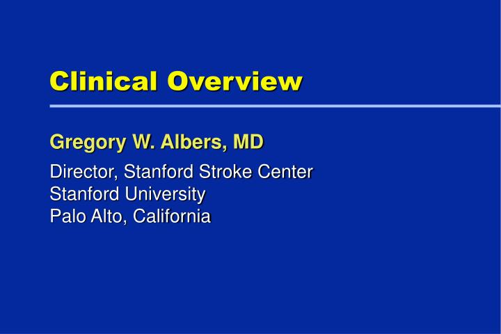 clinical overview n.