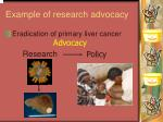 example of research advocacy