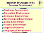 prediction of changes in the business environment11