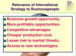 relevance of international strategy to businesspeople
