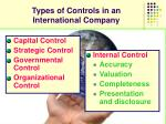 types of controls in an international company