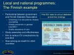 local and national programmes the finnish example
