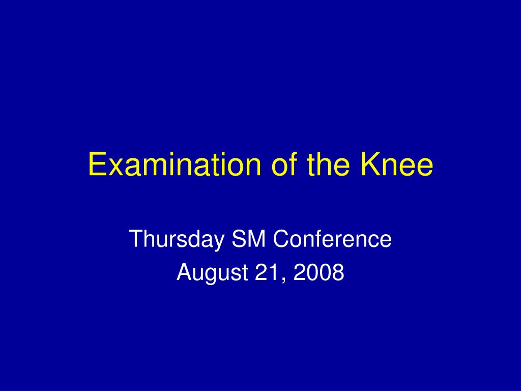 examination of the knee l.
