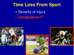 time loss from sport