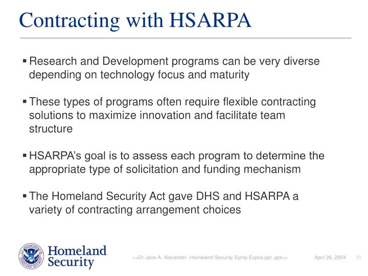 Contracting with HSARPA