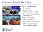 customer specific portfolios