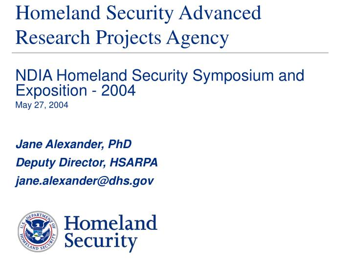 homeland security advanced research projects agency n.