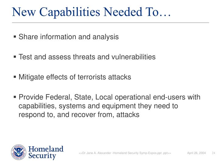 New Capabilities Needed To…