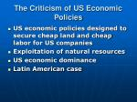 the criticism of us economic policies