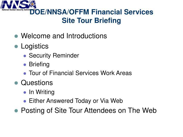 Doe nnsa offm financial services site tour briefing