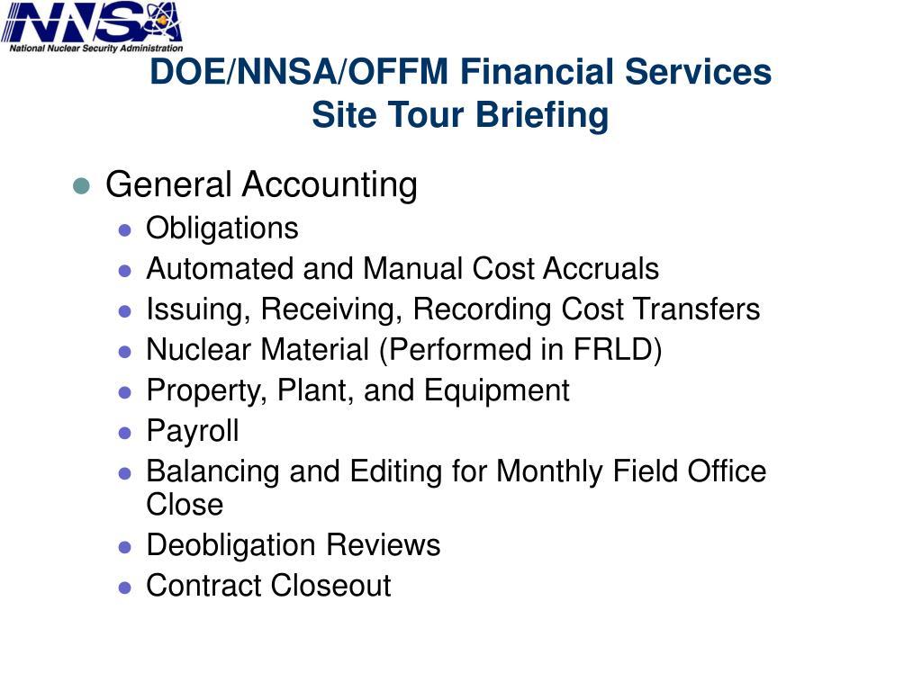 DOE/NNSA/OFFM Financial Services