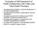 examples of nm department of health collaboration with tribes and tribal health providers