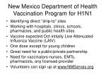 new mexico department of health vaccination program for h1n1