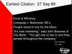 earliest citation 27 sep 89