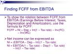 finding fcff from ebitda