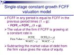 single stage constant growth fcff valuation model