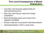 firm level consequences of market globalization