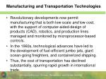 manufacturing and transportation technologies