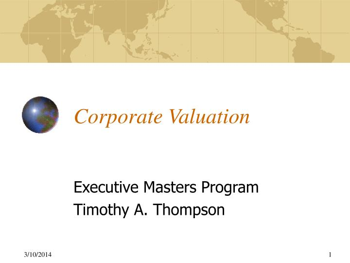 corporate valuation n.