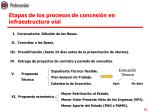 etapas de los procesos de concesi n en infraestructura vial
