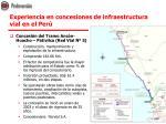 experiencia en concesiones de infraestructura vial en el per1