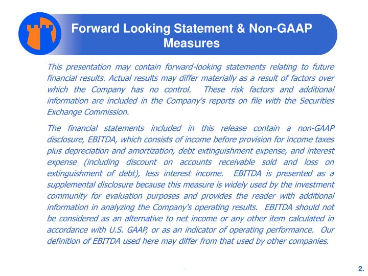 Forward looking statement non gaap measures