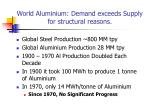 world aluminium demand exceeds supply for structural reasons