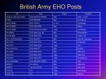 british army eho posts