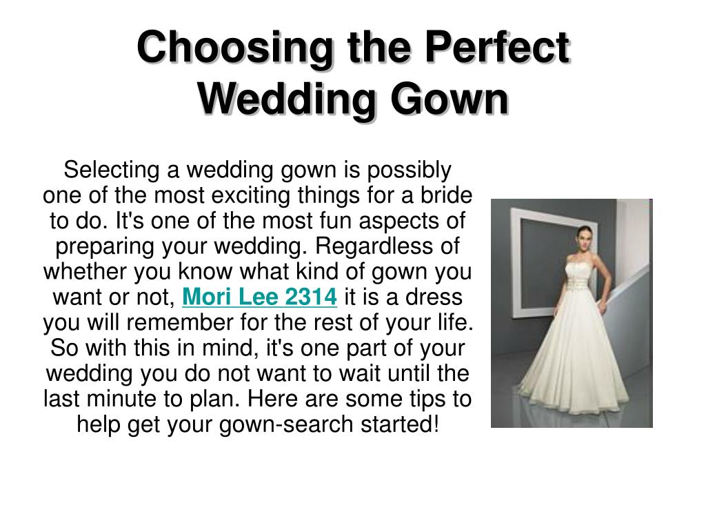 choosing the perfect wedding gown l.