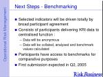 next steps benchmarking