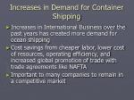 increases in demand for container shipping