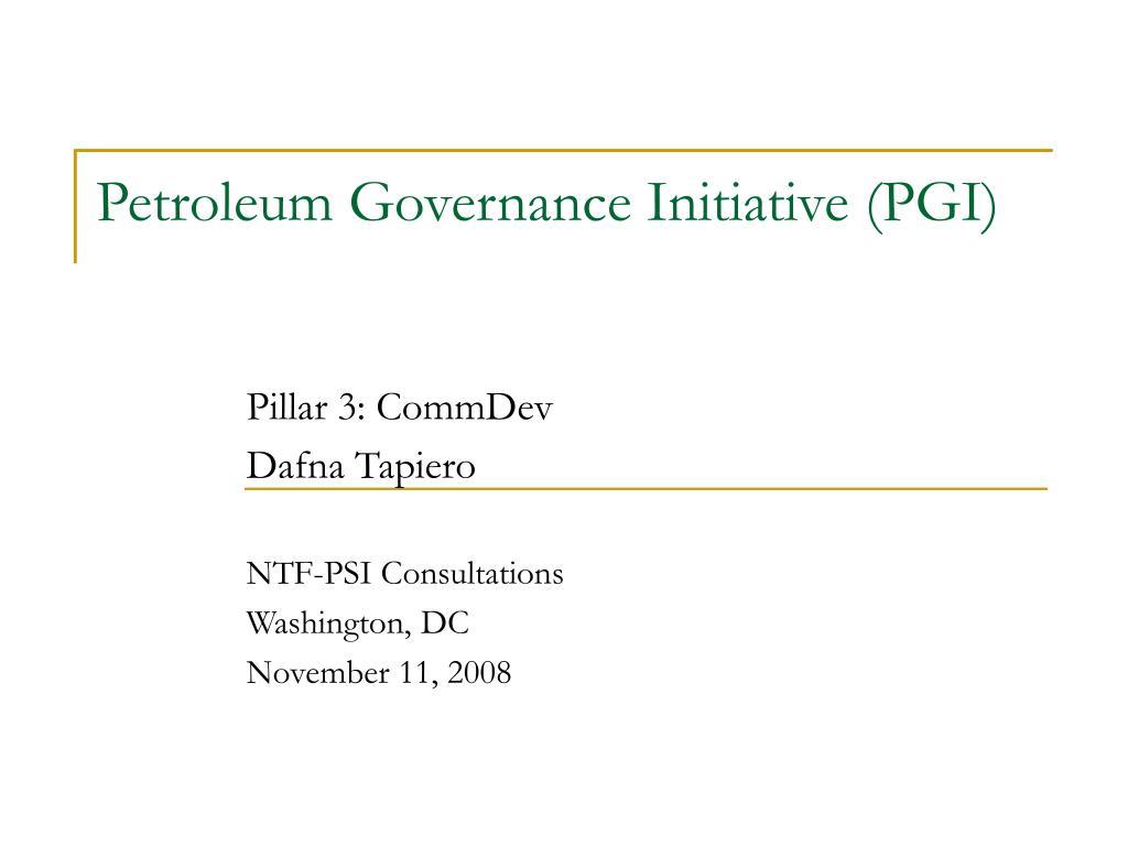 petroleum governance initiative pgi l.
