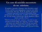 un caso di suicidio raccontato da un cristiano