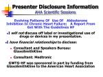 presenter disclosure information aha scientific sessions