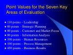 point values for the seven key areas of evaluation